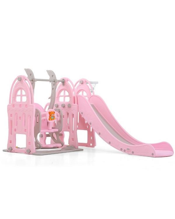 Горка + качели Замок PS-047-P розовый