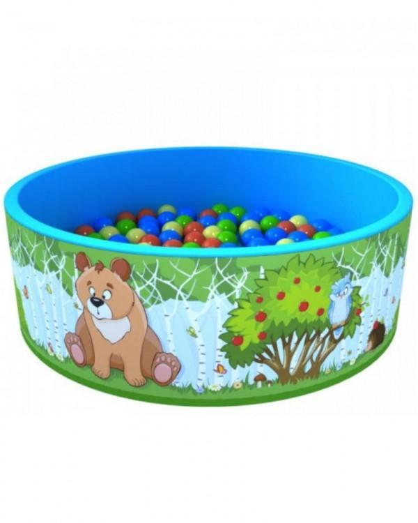 Сухой бассейн Зверята с шариками +100 шариков
