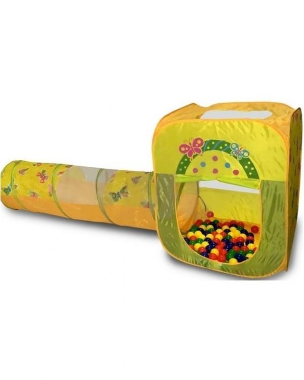 Игровой домик с туннелем+ 100 шариков