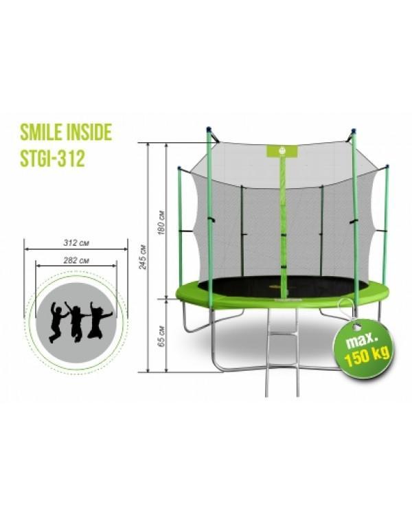 Батут Smile STGI-312 с защитной сеткой и лестницей